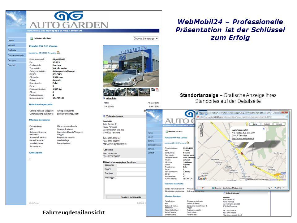 Fahrzeugdetailansicht WebMobil24 – Professionelle Präsentation ist der Schlüssel zum Erfolg Standortanzeige – Grafische Anzeige Ihres Standortes auf d