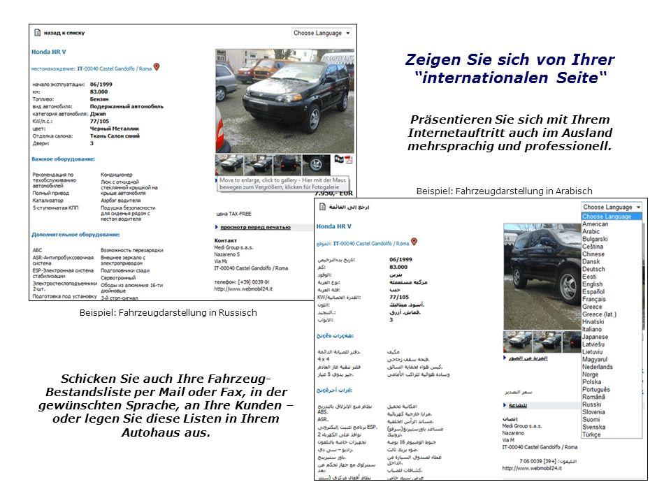 Beispiel: Fahrzeugdarstellung in Russisch Beispiel: Fahrzeugdarstellung in Arabisch Zeigen Sie sich von Ihrer internationalen Seite Schicken Sie auch Ihre Fahrzeug- Bestandsliste per Mail oder Fax, in der gewünschten Sprache, an Ihre Kunden – oder legen Sie diese Listen in Ihrem Autohaus aus.