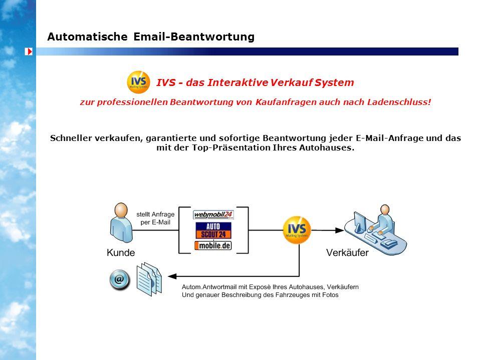Automatische Email-Beantwortung IVS - das Interaktive Verkauf System zur professionellen Beantwortung von Kaufanfragen auch nach Ladenschluss! Schnell