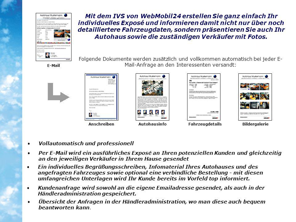 Folgende Dokumente werden zusätzlich und vollkommen automatisch bei jeder E- Mail-Anfrage an den Interessenten versandt: Mit dem IVS von WebMobil24 er