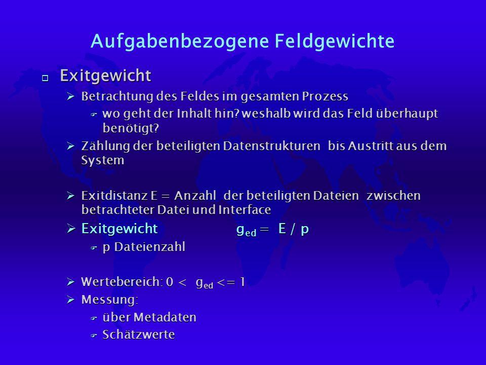 Aufgabenbezogene Feldgewichte o Exitgewicht ØBetrachtung des Feldes im gesamten Prozess F wo geht der Inhalt hin.