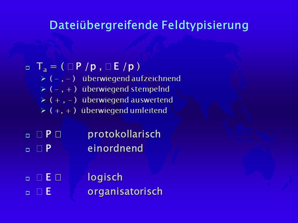 Dateiübergreifende Feldtypisierung T a = (, ) T a = ( P /p, E /p ) Ø( -, - ) überwiegend aufzeichnend Ø( -, + ) überwiegend stempelnd Ø( +, - ) überwiegend auswertend Ø( +, + ) überwiegend umleitend protokollarisch P protokollarisch einordnend P einordnend logisch E logisch organisatorisch E organisatorisch