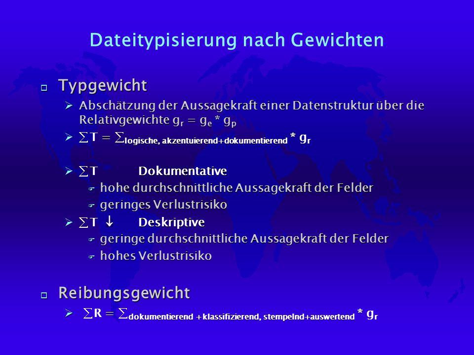 Dateitypisierung nach Gewichten o Typgewicht ØAbschätzung der Aussagekraft einer Datenstruktur über die Relativgewichte g r = g e * g p = logische, akzentuierend+dokumentierend * T = logische, akzentuierend+dokumentierend * g r Dokumentative T Dokumentative F hohe durchschnittliche Aussagekraft der Felder F geringes Verlustrisiko Deskriptive T Deskriptive F geringe durchschnittliche Aussagekraft der Felder F hohes Verlustrisiko o Reibungsgewicht = dokumentierend +klassifizierend, stempelnd+auswertend * R = dokumentierend +klassifizierend, stempelnd+auswertend * g r