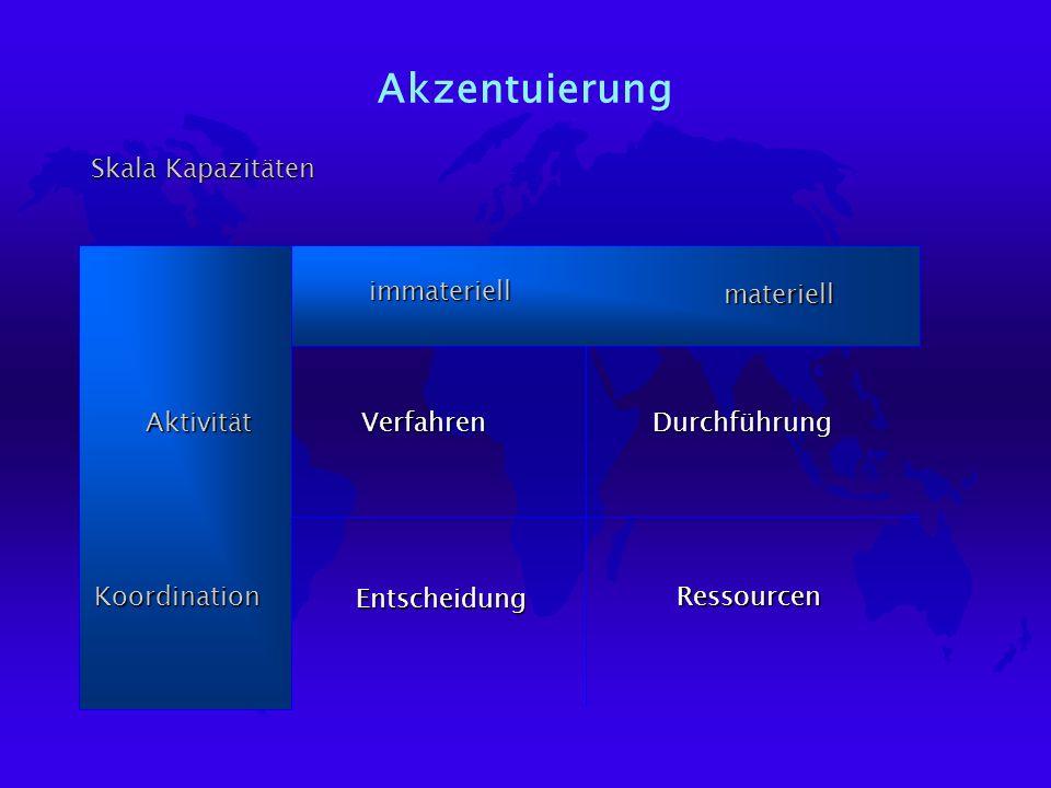 Akzentuierung Skala Kapazitäten AktivitätKoordination immateriellmateriell Verfahren Ressourcen Entscheidung Durchführung
