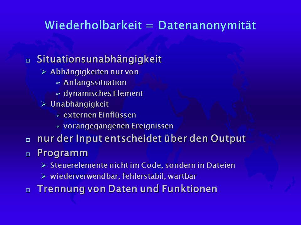 Wiederholbarkeit = Datenanonymität o Situationsunabhängigkeit ØAbhängigkeiten nur von F Anfangssituation F dynamisches Element ØUnabhängigkeit F exter