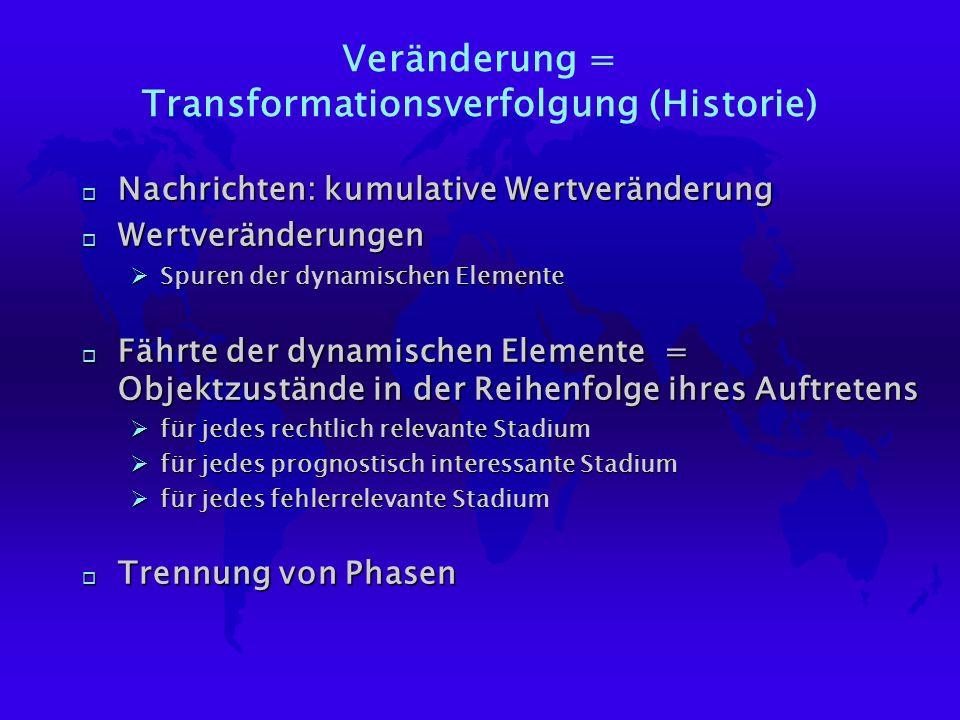 Veränderung = Transformationsverfolgung (Historie) o Nachrichten: kumulative Wertveränderung o Wertveränderungen ØSpuren der dynamischen Elemente o Fä