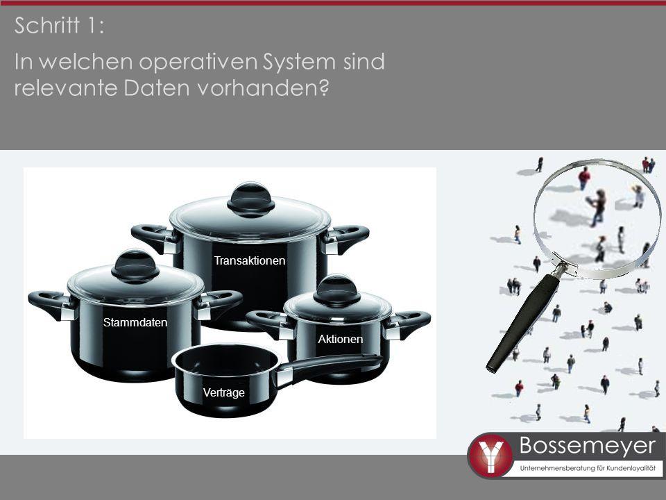 Schritt 1: In welchen operativen System sind relevante Daten vorhanden.