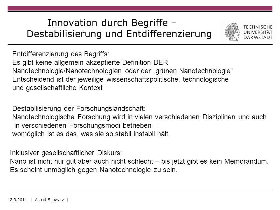 Innovation durch Begriffe – Destabilisierung und Entdifferenzierung 12.3.2011 | Astrid Schwarz | Destabilisierung der Forschungslandschaft: Nanotechnologische Forschung wird in vielen verschiedenen Disziplinen und auch in verschiedenen Forschungsmodi betrieben – womöglich ist es das, was sie so stabil instabil hält.