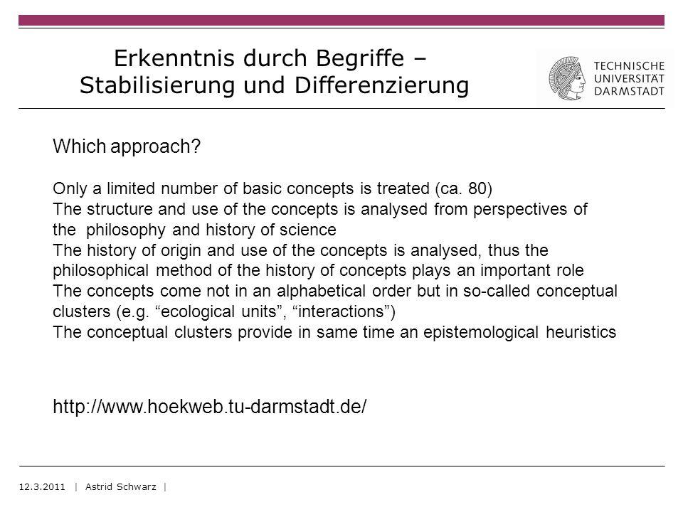 Erkenntnis durch Begriffe – Stabilisierung und Differenzierung 12.3.2011 | Astrid Schwarz | Which approach.