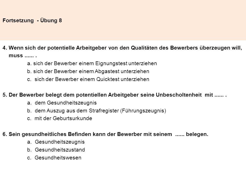 Fortsetzung - Übung 8 4.