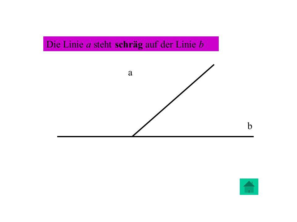 a b Die Linie a steht schräg auf der Linie b