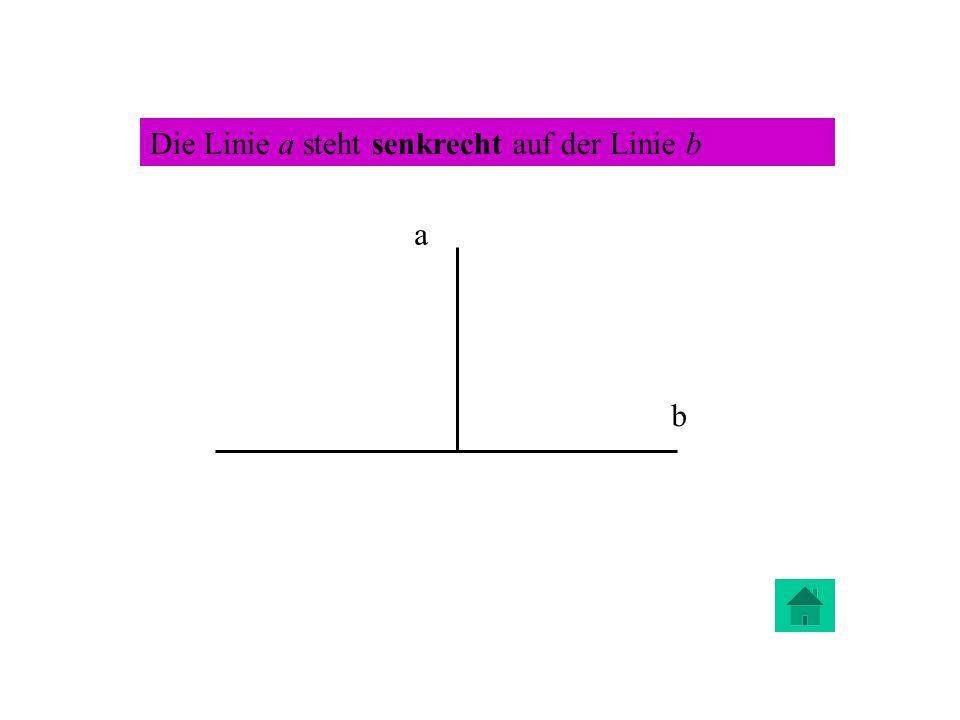 Die Linie a steht senkrecht auf der Linie b a b