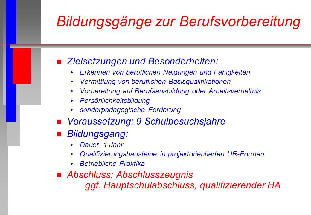 n Zielsetzungen und Besonderheiten: Erkennen von beruflichen Neigungen und Fähigkeiten Vermittlung von beruflichen Basisqualifikationen Vorbereitung a