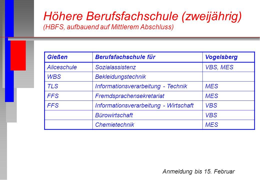 Anmeldung bis 15. Februar Höhere Berufsfachschule (zweijährig) (HBFS, aufbauend auf Mittlerem Abschluss) GießenBerufsfachschule fürVogelsberg Alicesch