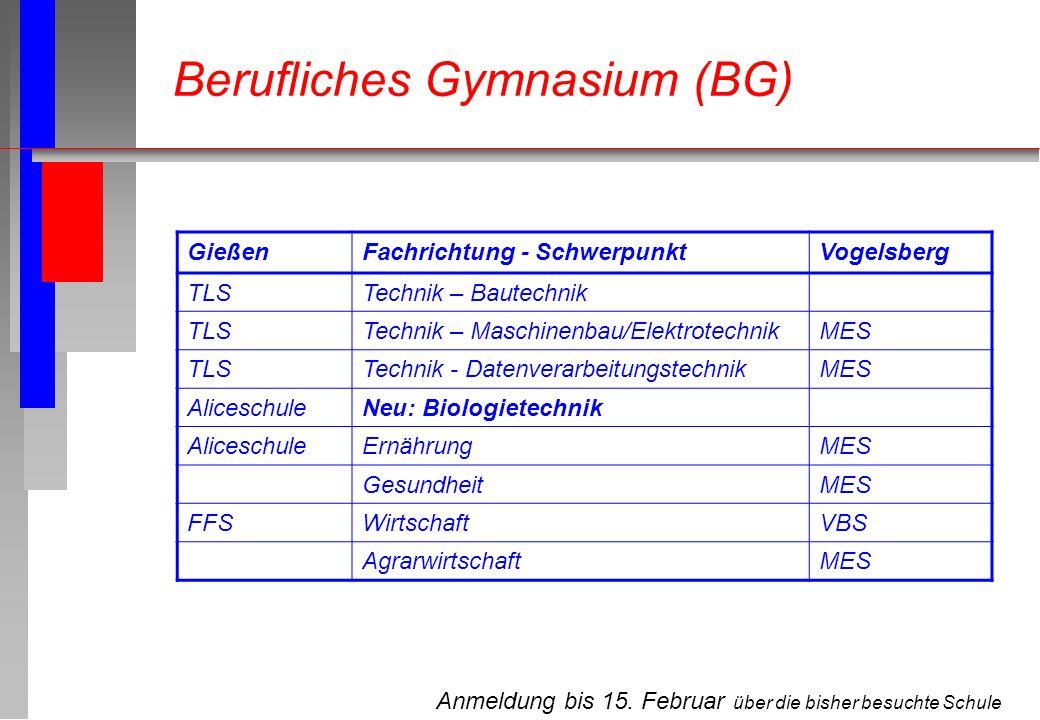 Anmeldung bis 15. Februar über die bisher besuchte Schule Berufliches Gymnasium (BG) GießenFachrichtung - SchwerpunktVogelsberg TLSTechnik – Bautechni