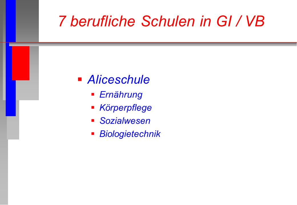Aliceschule Ernährung Körperpflege Sozialwesen Biologietechnik 7 berufliche Schulen in GI / VB