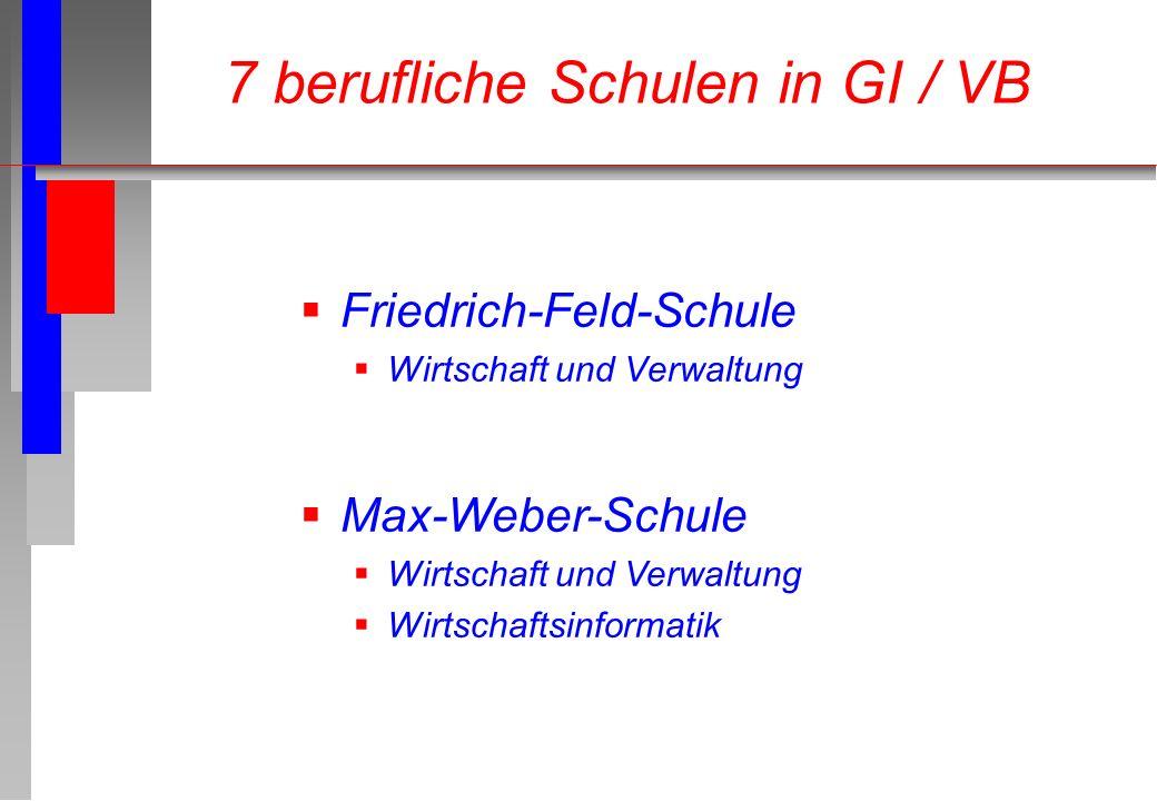Friedrich-Feld-Schule Wirtschaft und Verwaltung 7 berufliche Schulen in GI / VB Max-Weber-Schule Wirtschaft und Verwaltung Wirtschaftsinformatik