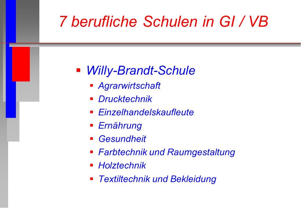 Willy-Brandt-Schule Agrarwirtschaft Drucktechnik Einzelhandelskaufleute Ernährung Gesundheit Farbtechnik und Raumgestaltung Holztechnik Textiltechnik