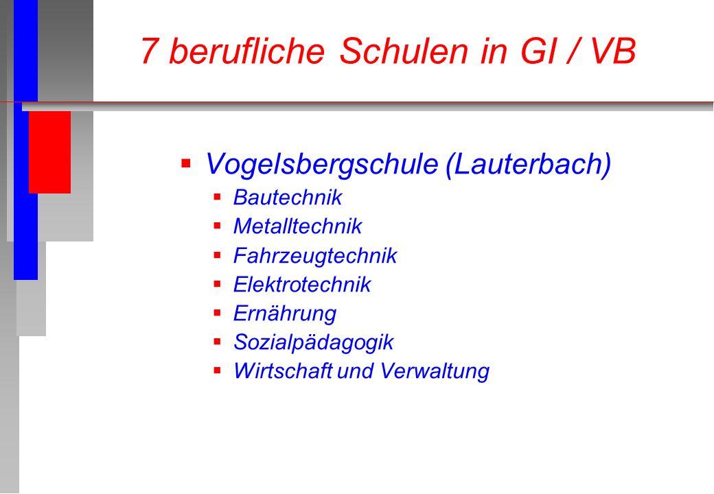 Vogelsbergschule (Lauterbach) Bautechnik Metalltechnik Fahrzeugtechnik Elektrotechnik Ernährung Sozialpädagogik Wirtschaft und Verwaltung 7 berufliche