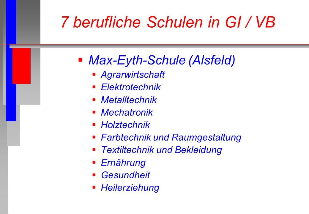 Max-Eyth-Schule (Alsfeld) Agrarwirtschaft Elektrotechnik Metalltechnik Mechatronik Holztechnik Farbtechnik und Raumgestaltung Textiltechnik und Beklei