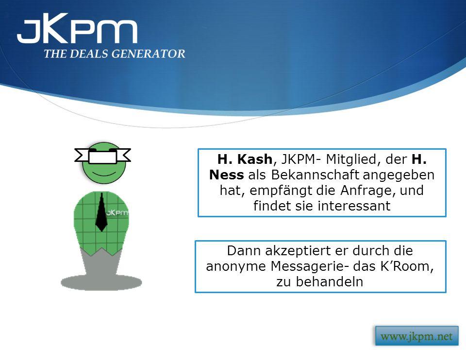 H. Kash, JKPM- Mitglied, der H. Ness als Bekannschaft angegeben hat, empfängt die Anfrage, und findet sie interessant Dann akzeptiert er durch die ano