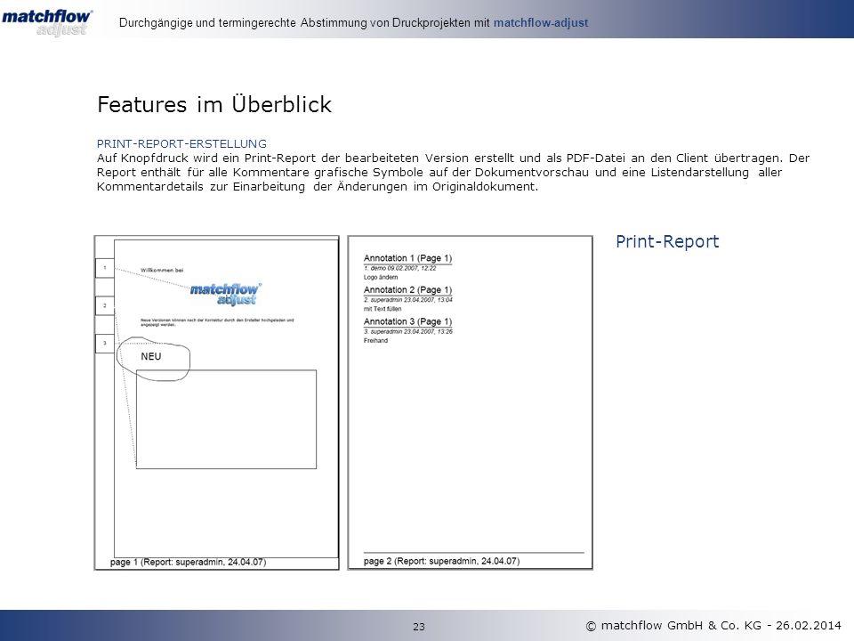 PRINT-REPORT-ERSTELLUNG Auf Knopfdruck wird ein Print-Report der bearbeiteten Version erstellt und als PDF-Datei an den Client übertragen.