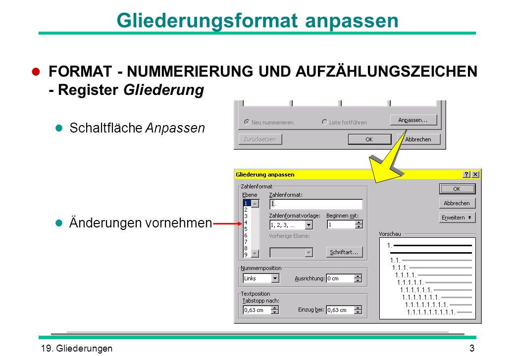 19. Gliederungen3 Gliederungsformat anpassen l FORMAT - NUMMERIERUNG UND AUFZÄHLUNGSZEICHEN - Register Gliederung l Schaltfläche Anpassen l Änderungen