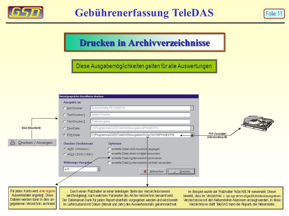 Gebührenerfassung TeleDAS Drucken in Archivverzeichnisse Diese Ausgabemöglichkeiten gelten für alle Auswertungen Folie 11