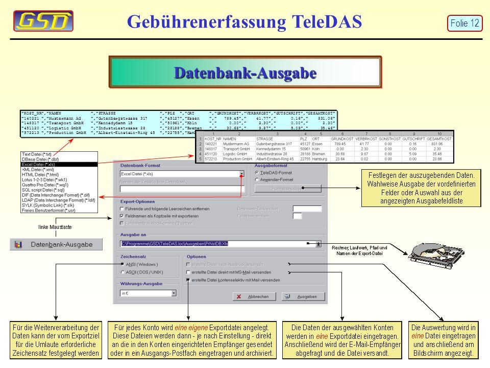 Gebührenerfassung TeleDAS Datenbank-Ausgabe