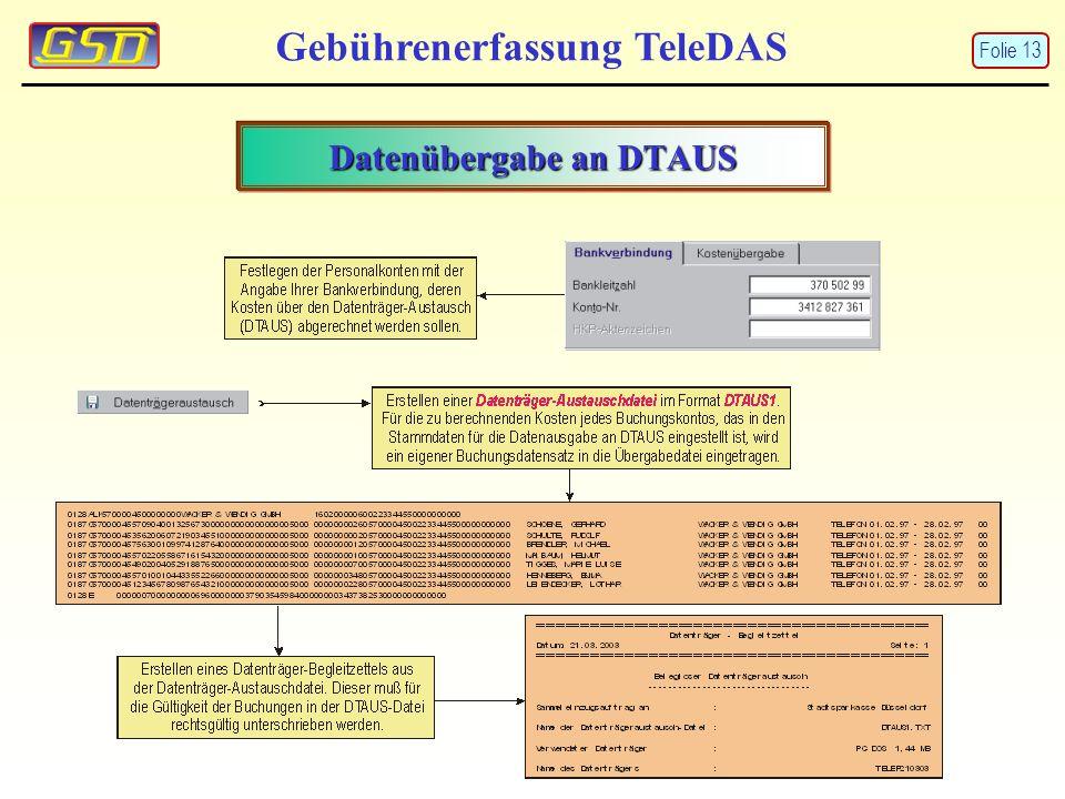 Gebührenerfassung TeleDAS Datenübergabe an DTAUS Folie 13