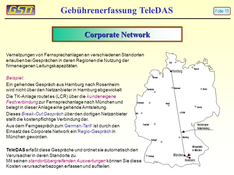 Gebührenerfassung TeleDAS Corporate Network Vernetzungen von Fernsprechanlagen an verschiedenen Standorten erlauben bei Gesprächen in deren Regionen d