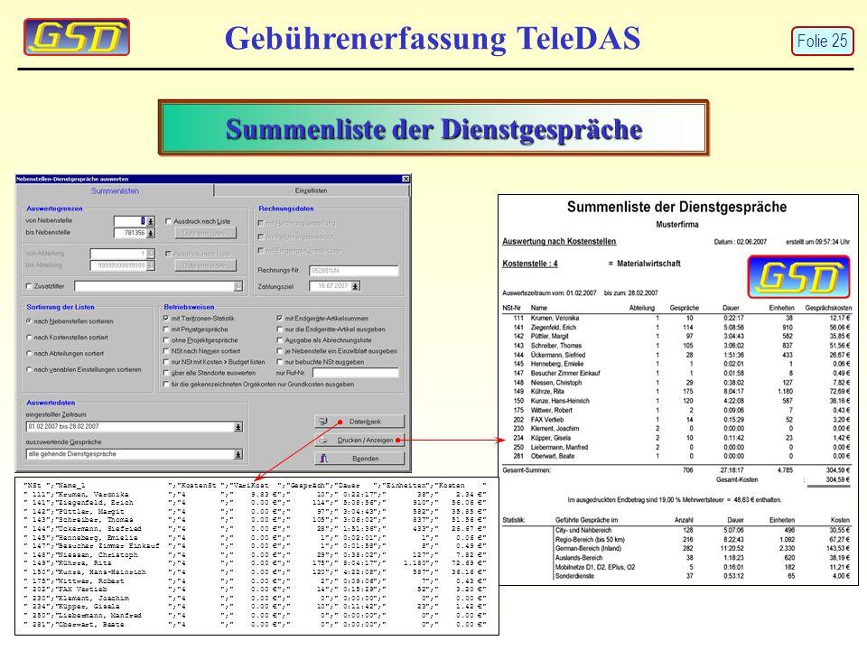 Summenliste der Dienstgespräche Gebührenerfassung TeleDAS
