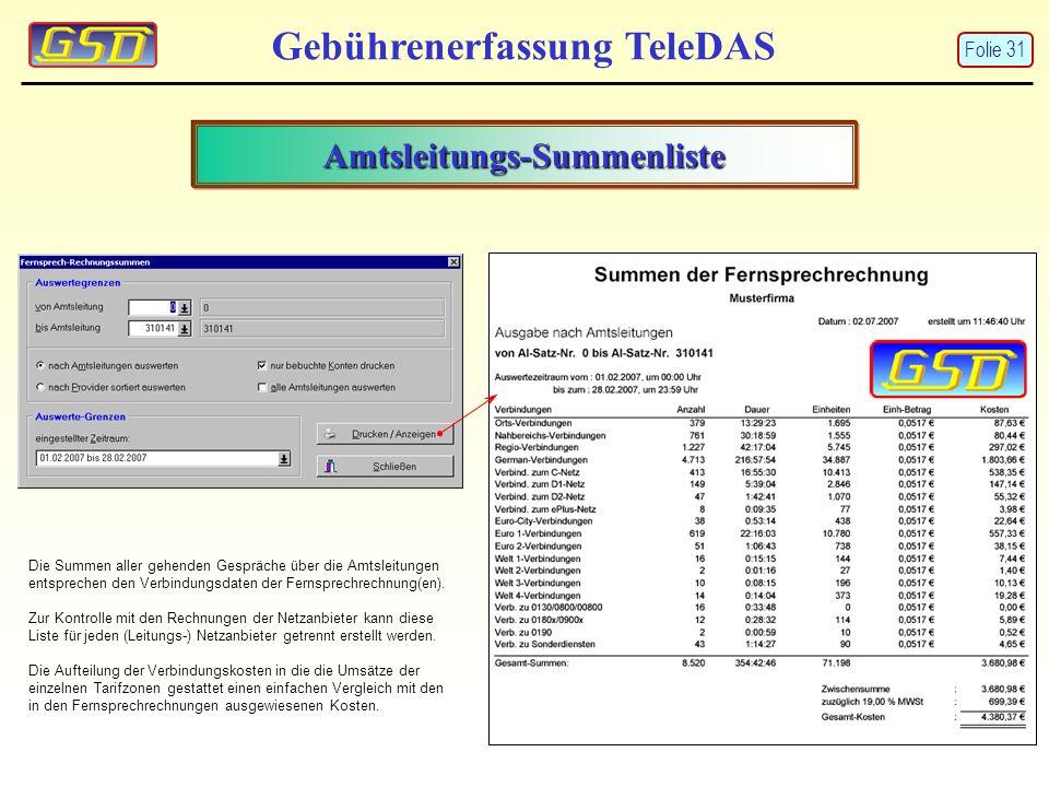 Amtsleitungs-Summenliste Gebührenerfassung TeleDAS Die Summen aller gehenden Gespräche über die Amtsleitungen entsprechen den Verbindungsdaten der Fer