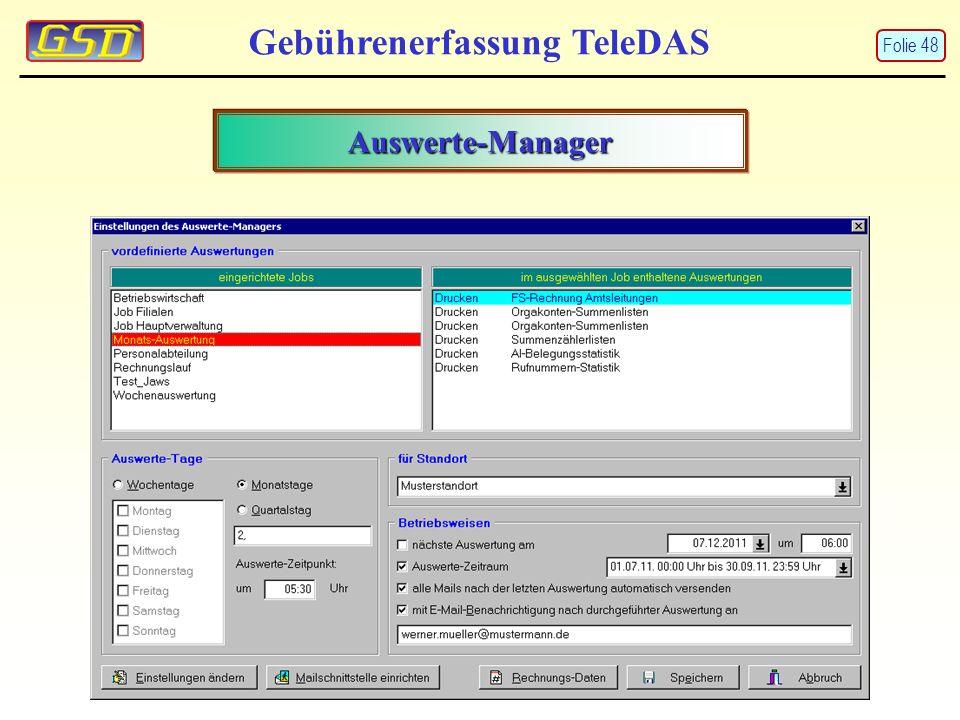 Gebührenerfassung TeleDAS Auswerte-Manager Folie 48