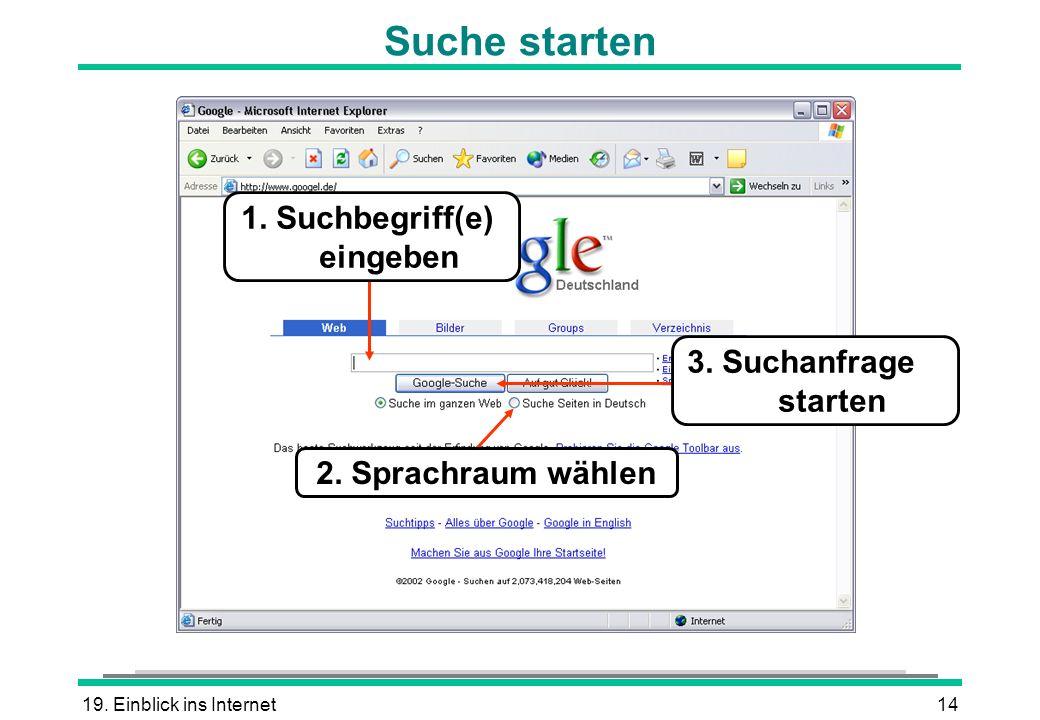 19. Einblick ins Internet14 Suche starten 2. Sprachraum wählen 3. Suchanfrage starten 1. Suchbegriff(e) eingeben