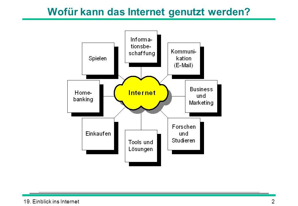 19. Einblick ins Internet2 Wofür kann das Internet genutzt werden?