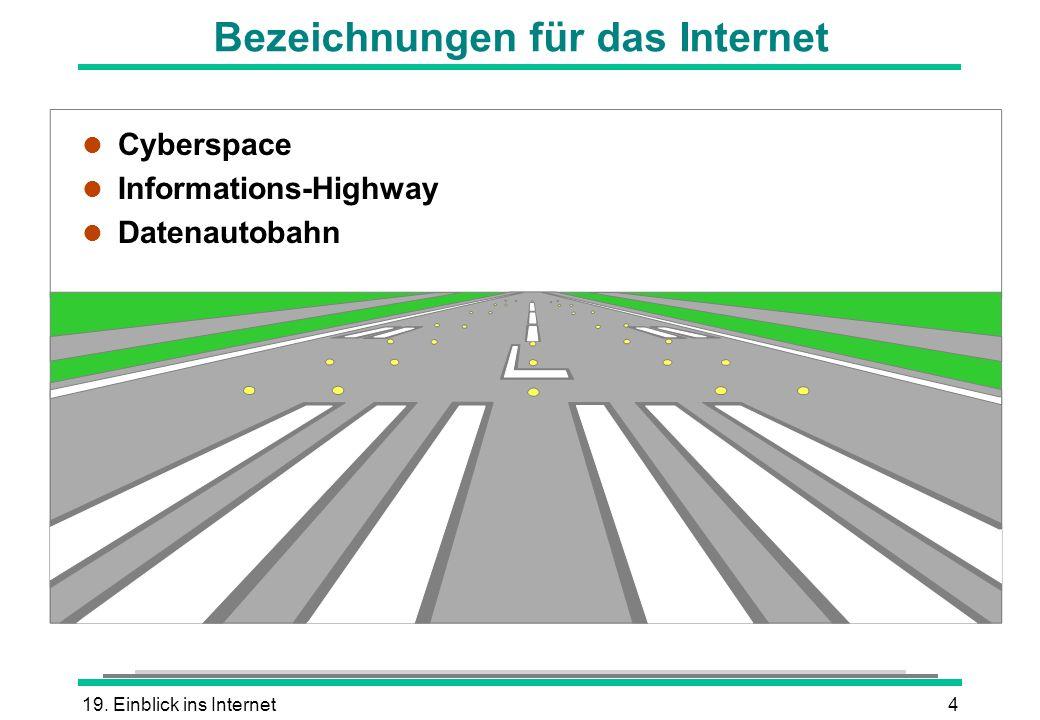 19. Einblick ins Internet4 l Cyberspace l Informations-Highway l Datenautobahn Bezeichnungen für das Internet