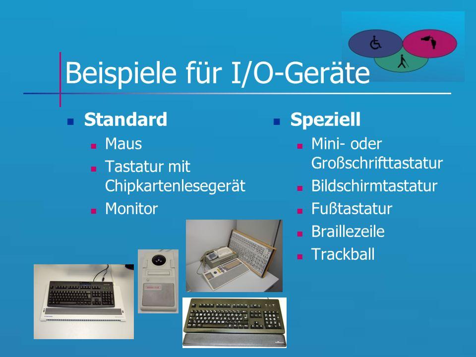 Beispiele für I/O-Geräte Standard Maus Tastatur mit Chipkartenlesegerät Monitor Speziell Mini- oder Großschrifttastatur Bildschirmtastatur Fußtastatur Braillezeile Trackball