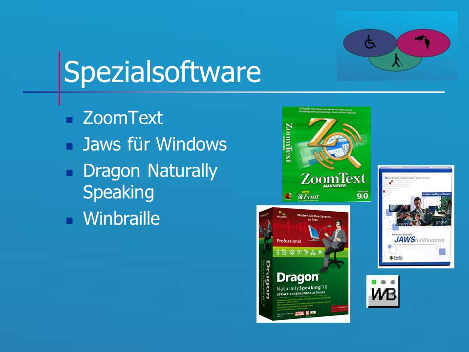 Spezialsoftware ZoomText Jaws für Windows Dragon Naturally Speaking Winbraille