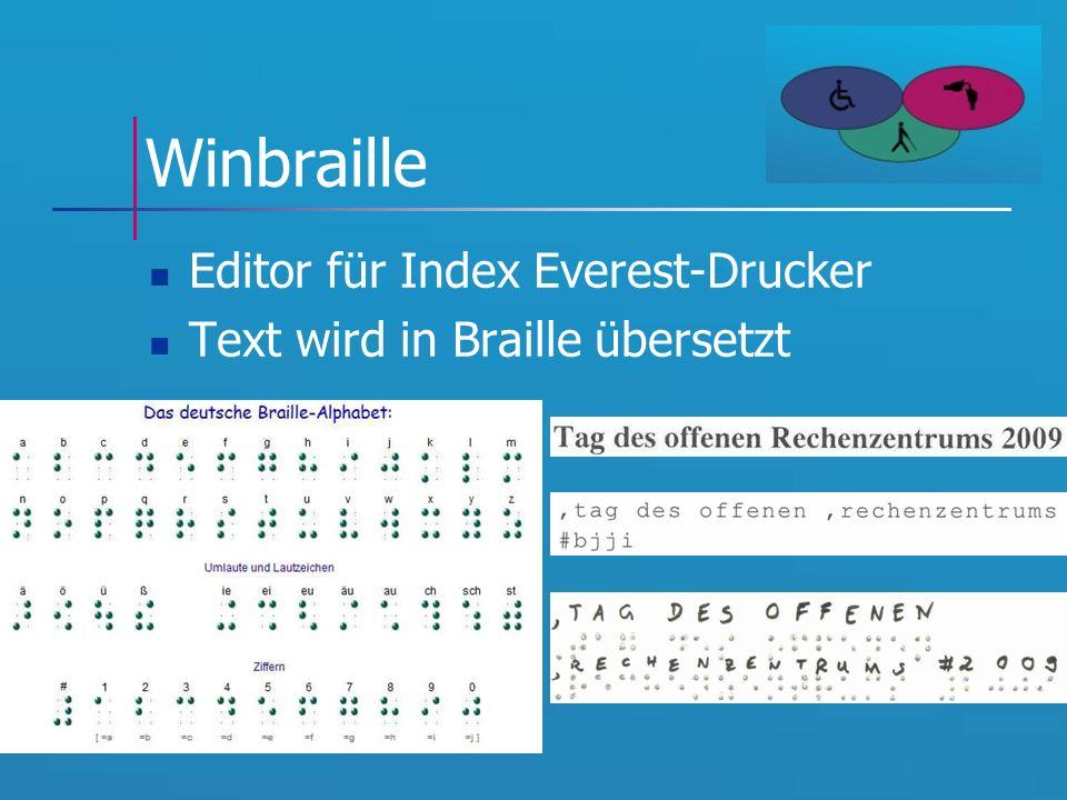 Winbraille Editor für Index Everest-Drucker Text wird in Braille übersetzt