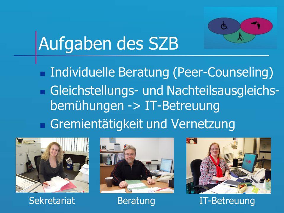 Aufgaben des SZB Individuelle Beratung (Peer-Counseling) Gleichstellungs- und Nachteilsausgleichs- bemühungen -> IT-Betreuung Gremientätigkeit und Vernetzung SekretariatBeratungIT-Betreuung