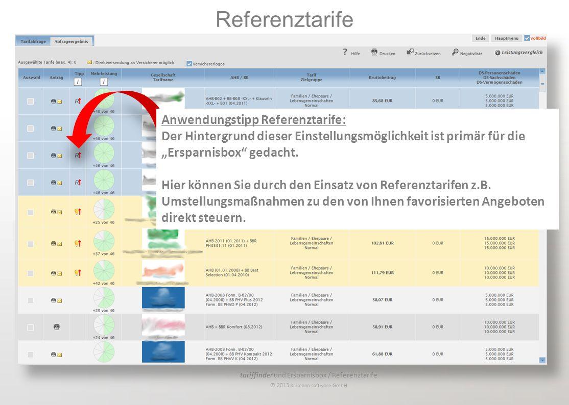 tariffinder und Ersparnisbox / Referenztarife © 2013 kaimaan software GmbH Anwendungstipp Referenztarife: Der Hintergrund dieser Einstellungsmöglichke