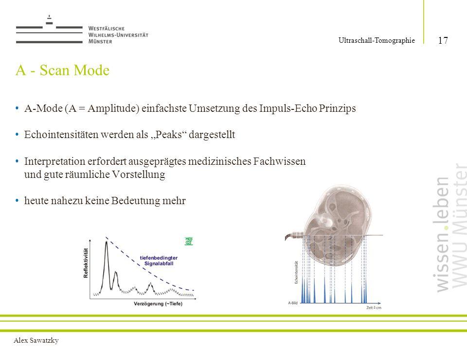 Alex Sawatzky A - Scan Mode 17 Ultraschall-Tomographie A-Mode (A = Amplitude) einfachste Umsetzung des Impuls-Echo Prinzips Echointensitäten werden als Peaks dargestellt Interpretation erfordert ausgeprägtes medizinisches Fachwissen und gute räumliche Vorstellung heute nahezu keine Bedeutung mehr