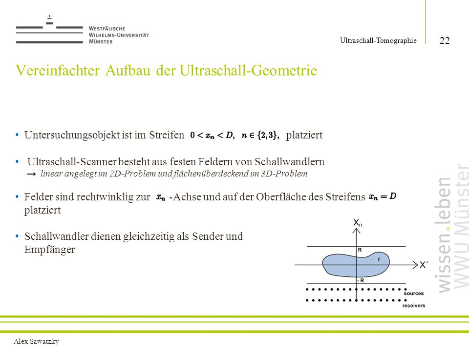 Alex Sawatzky Vereinfachter Aufbau der Ultraschall-Geometrie Untersuchungsobjekt ist im Streifen platziert Ultraschall-Scanner besteht aus festen Feld