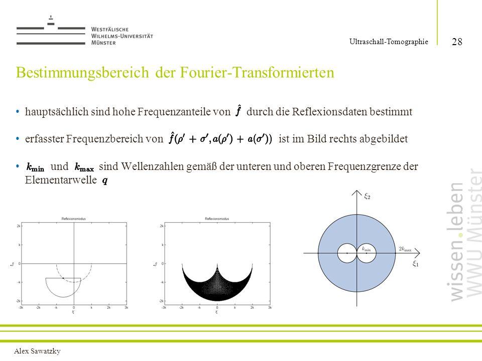 Alex Sawatzky Bestimmungsbereich der Fourier-Transformierten 28 Ultraschall-Tomographie hauptsächlich sind hohe Frequenzanteile von durch die Reflexionsdaten bestimmt erfasster Frequenzbereich von ist im Bild rechts abgebildet und sind Wellenzahlen gemäß der unteren und oberen Frequenzgrenze der Elementarwelle