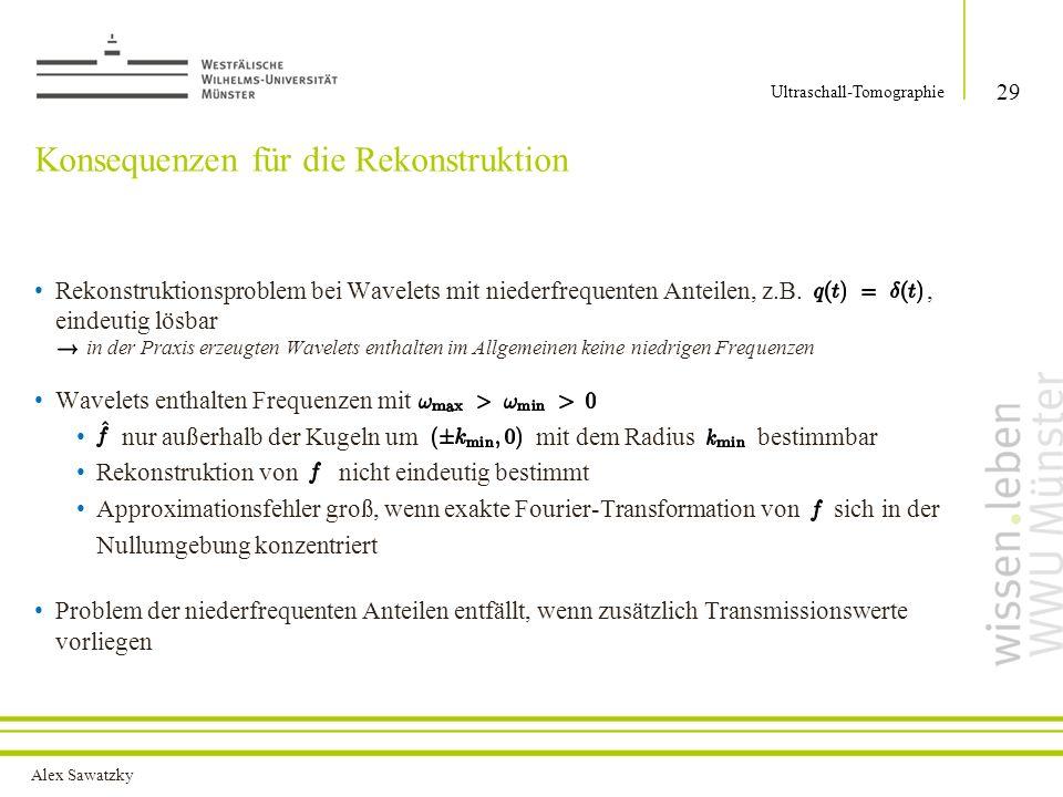 Alex Sawatzky Konsequenzen für die Rekonstruktion Rekonstruktionsproblem bei Wavelets mit niederfrequenten Anteilen, z.B., eindeutig lösbar in der Pra