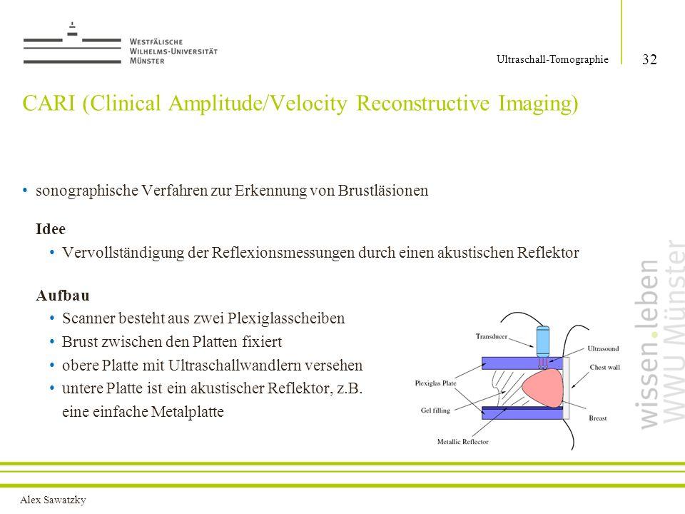 Alex Sawatzky CARI (Clinical Amplitude/Velocity Reconstructive Imaging) 32 Ultraschall-Tomographie sonographische Verfahren zur Erkennung von Brustläs