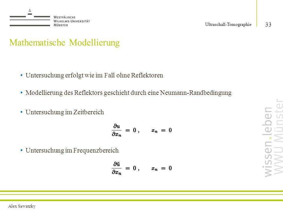 Alex Sawatzky Mathematische Modellierung Untersuchung erfolgt wie im Fall ohne Reflektoren Modellierung des Reflektors geschieht durch eine Neumann-Ra