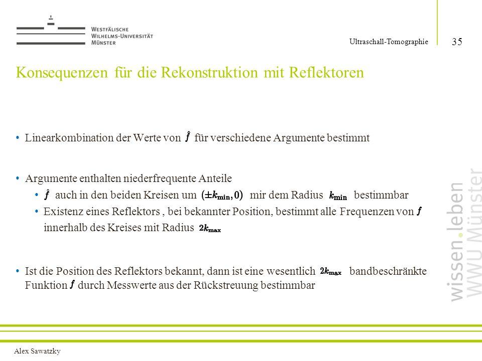 Alex Sawatzky Konsequenzen für die Rekonstruktion mit Reflektoren Linearkombination der Werte von für verschiedene Argumente bestimmt Argumente enthal