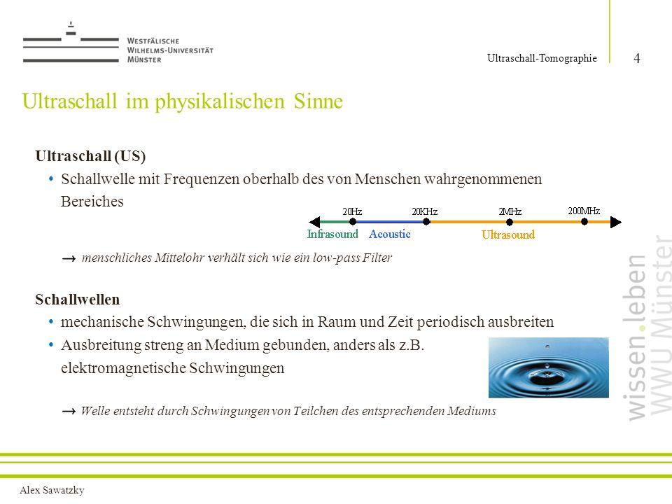 Alex Sawatzky Ultraschall im physikalischen Sinne Ultraschall (US) Schallwelle mit Frequenzen oberhalb des von Menschen wahrgenommenen Bereiches mensc